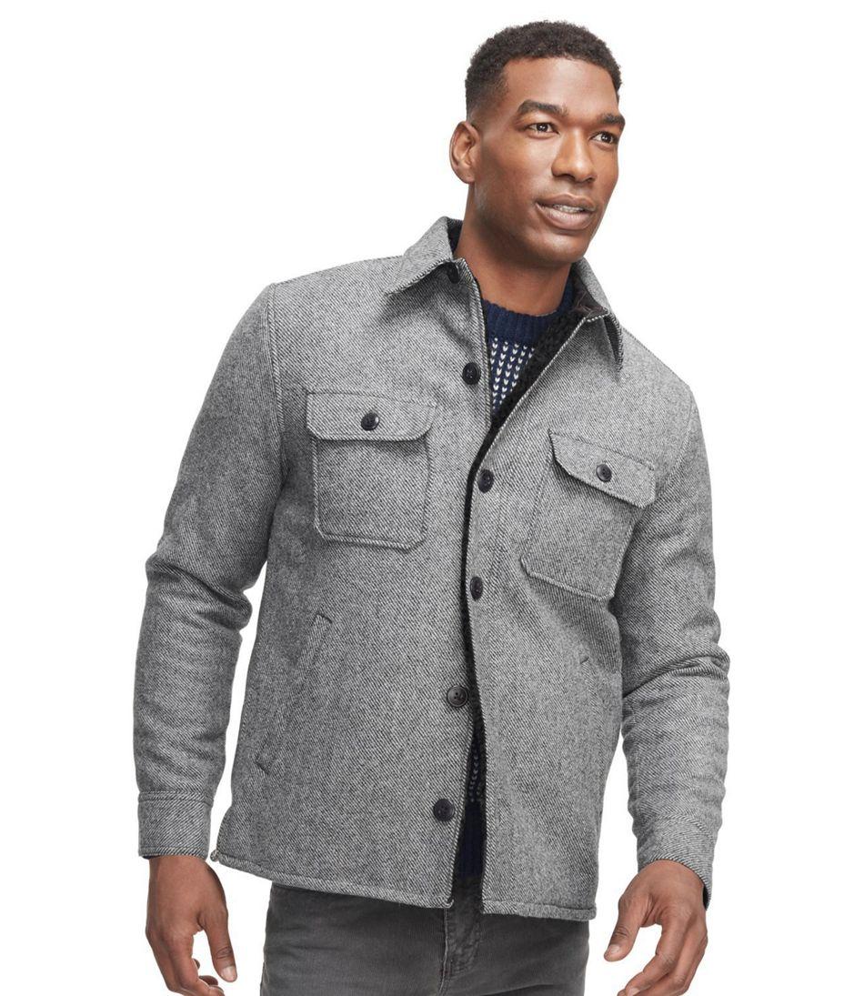 Men's Signature Lined Wool-Blend Shirt Jacket, Slim Fit