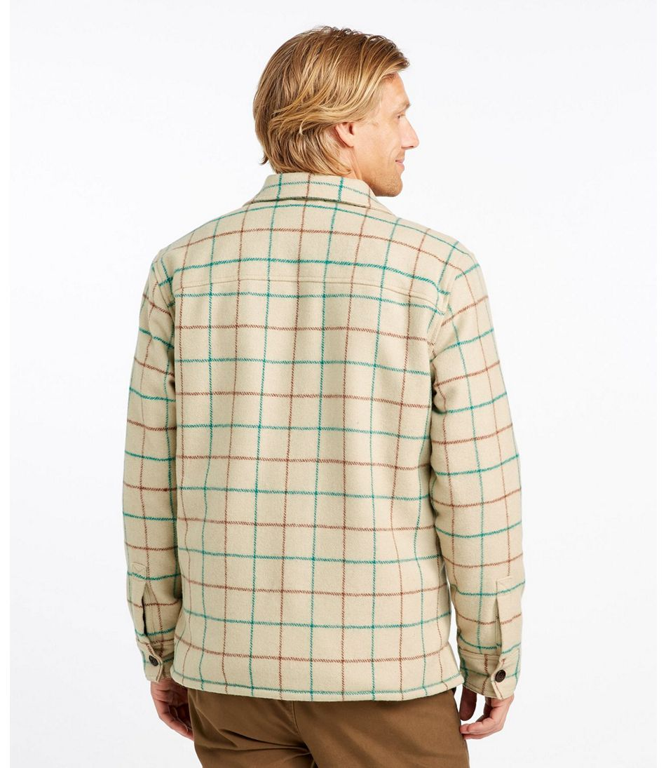 Men's Signature Lined Wool-Blend Shirt Jacket, Slim Fit Plaid