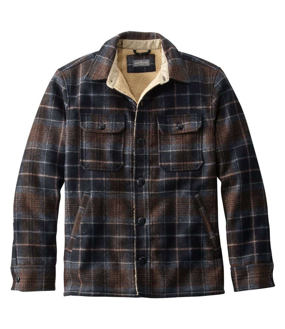 Men's Vintage Style Coats and Jackets Signature Lined Wool-Blend Shirt Jacket Slim Fit Plaid $179.00 AT vintagedancer.com