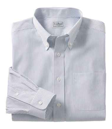 Men's Wrinkle-Free Pinpoint Oxford Cloth Shirt, Slightly Fitted Stripe