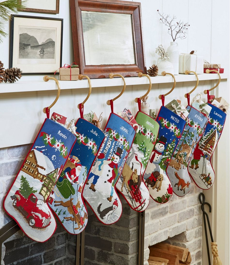 Christmas Needlepoint Stocking, Cotton Christmas Needlepoint Stocking, Cotton