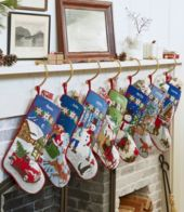 PERSONALIZED MONOGRAMED WITH *INITIAL*  PLUSH CHRISTMAS STOCKINGS EMBROIDERED
