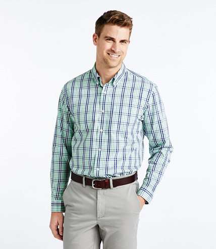 Wrinkle free vacationland sport shirt gingham free for Ll bean wrinkle resistant shirts