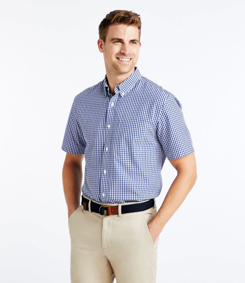 Wrinkle-Free Vacationland Sport Shirt, Traditional Fit Short-Sleeve Gingham