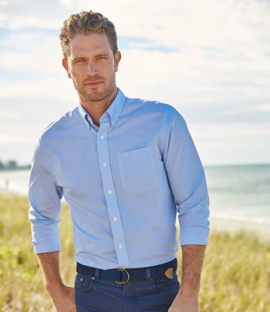 Wrinkle-Free Vacationland Sport Shirt, Slightly Fitted Mini-Check