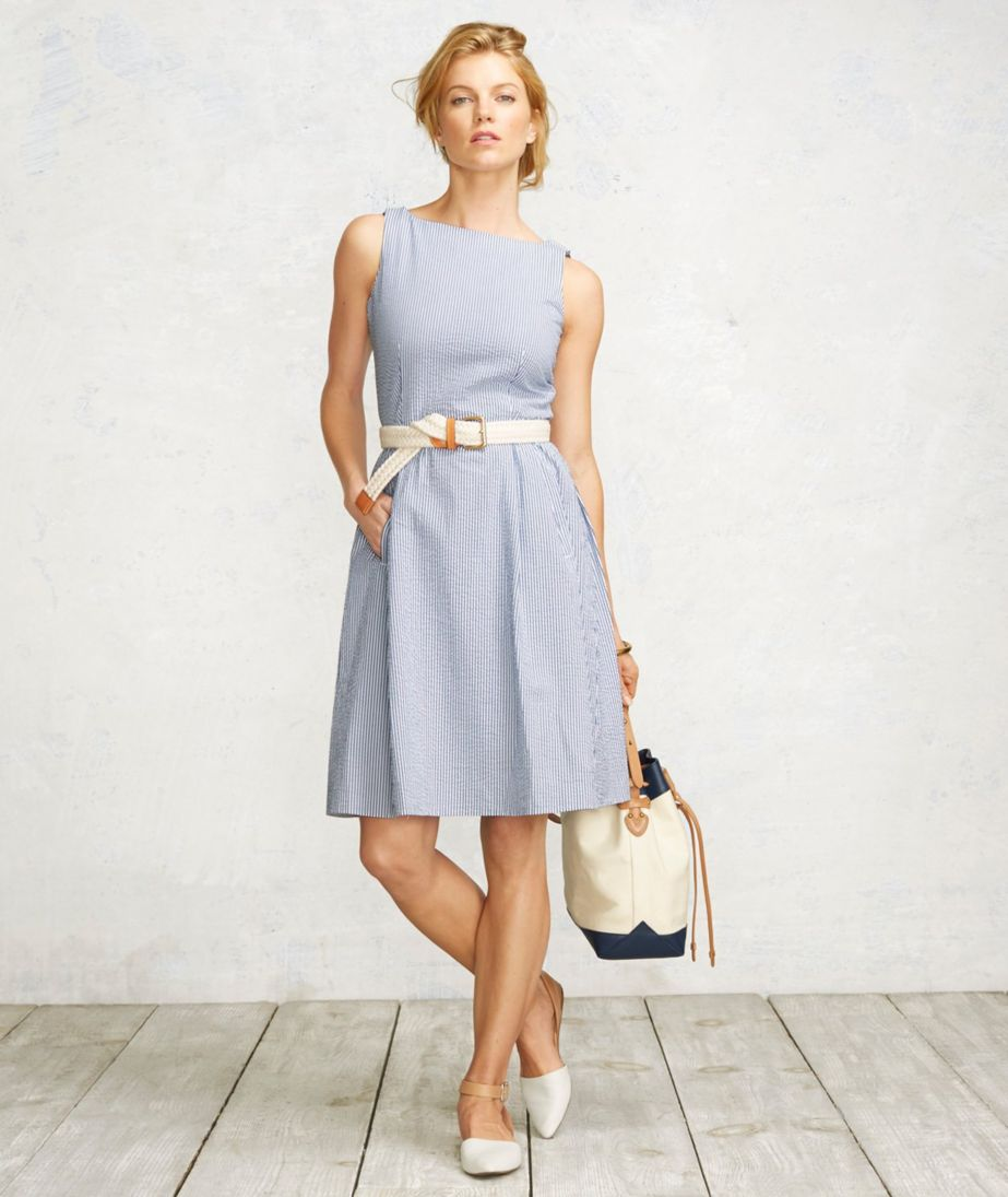 Signature Seersucker Dress, Stripe