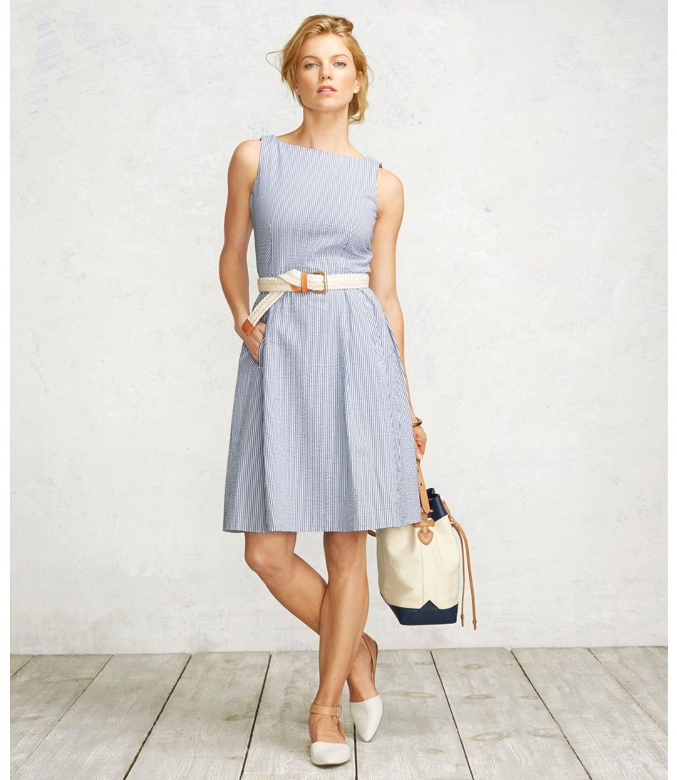 Women S Signature Seersucker Dress Stripe