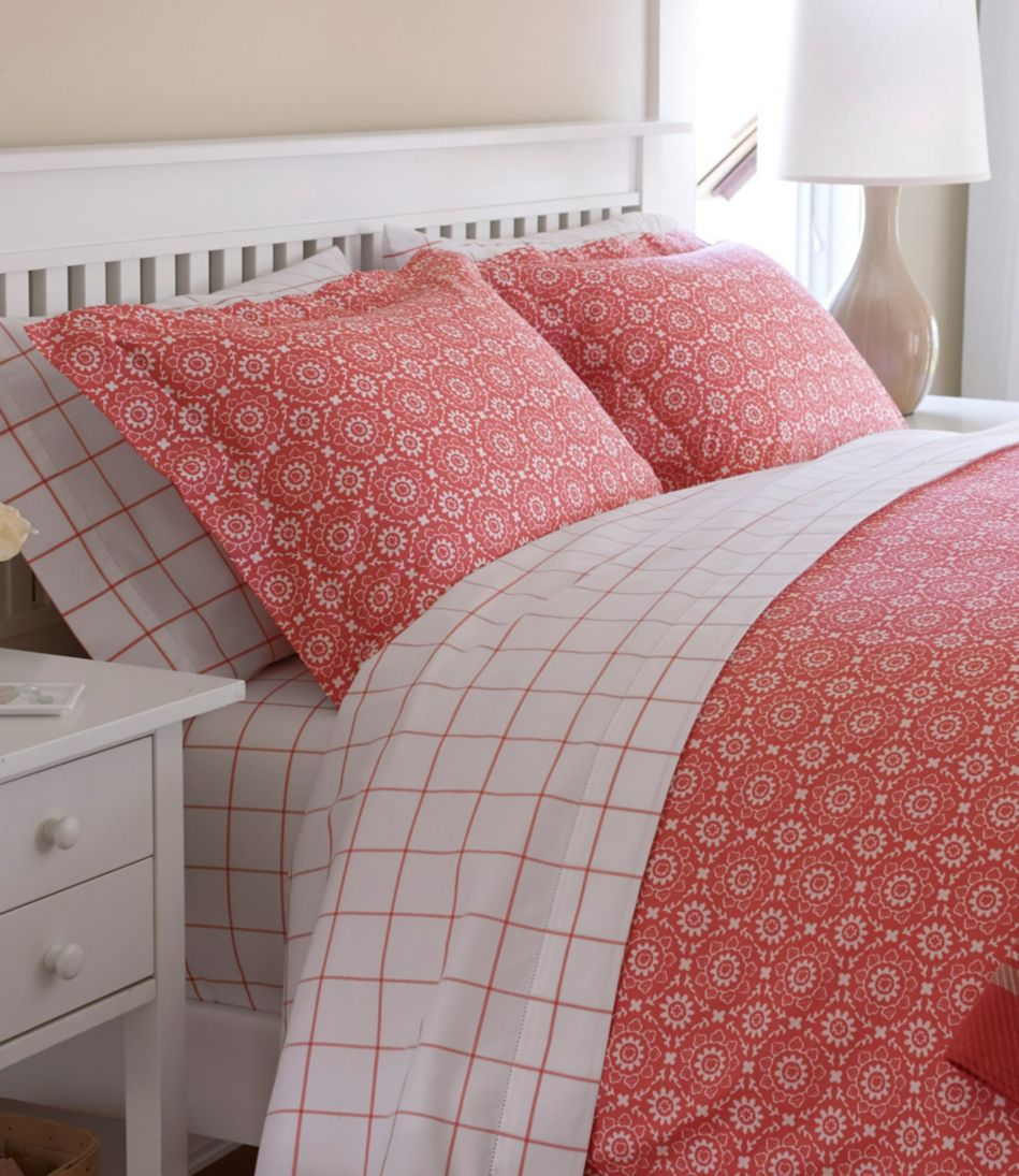 280-Thread-Count Pima Cotton Percale Sheet, Flat Windowpane