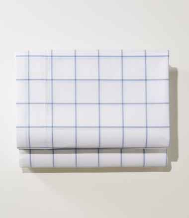 280-Thread-Count Pima Cotton Percale Sheet, Fitted Windowpane