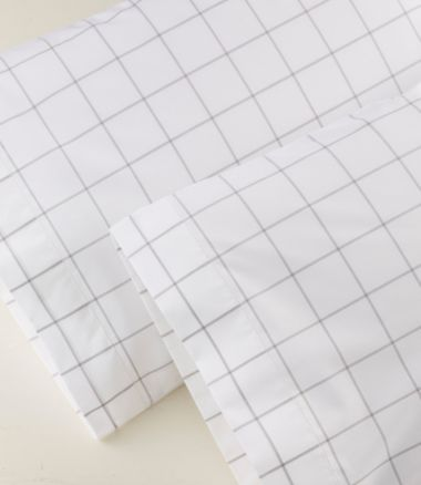 280-Thread-Count Pima Cotton Pillowcases, Windowpane Set of Two