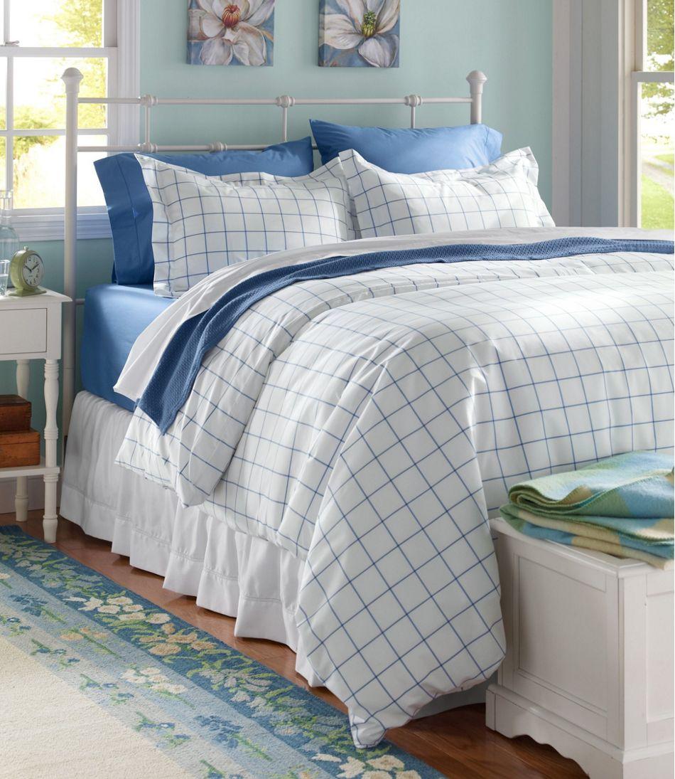 280-Thread-Count Pima Cotton Percale Comforter Cover Collection, Windowpane