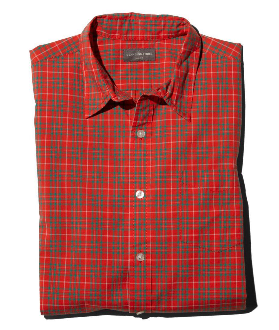 Signature Washed Poplin Shirt, Slim Fit Plaid