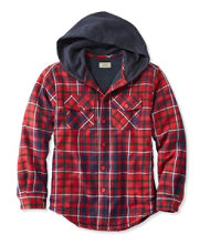 Boys' Fleece-Lined Hooded Flannel Shirt