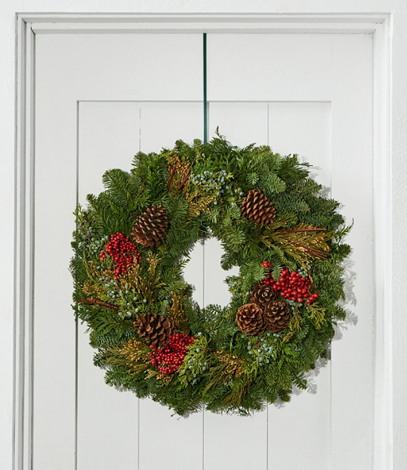 """Woodland Canella Berry Wreath 24"""", One Color, large image number 0"""