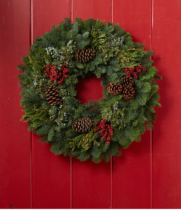 """Woodland Canella Berry Wreath 24"""", One Color, large image number 1"""