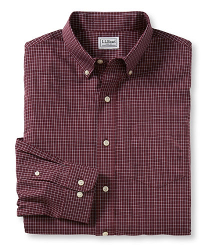 Men 39 s wrinkle free mini check shirt traditional fit for Ll bean wrinkle resistant shirts