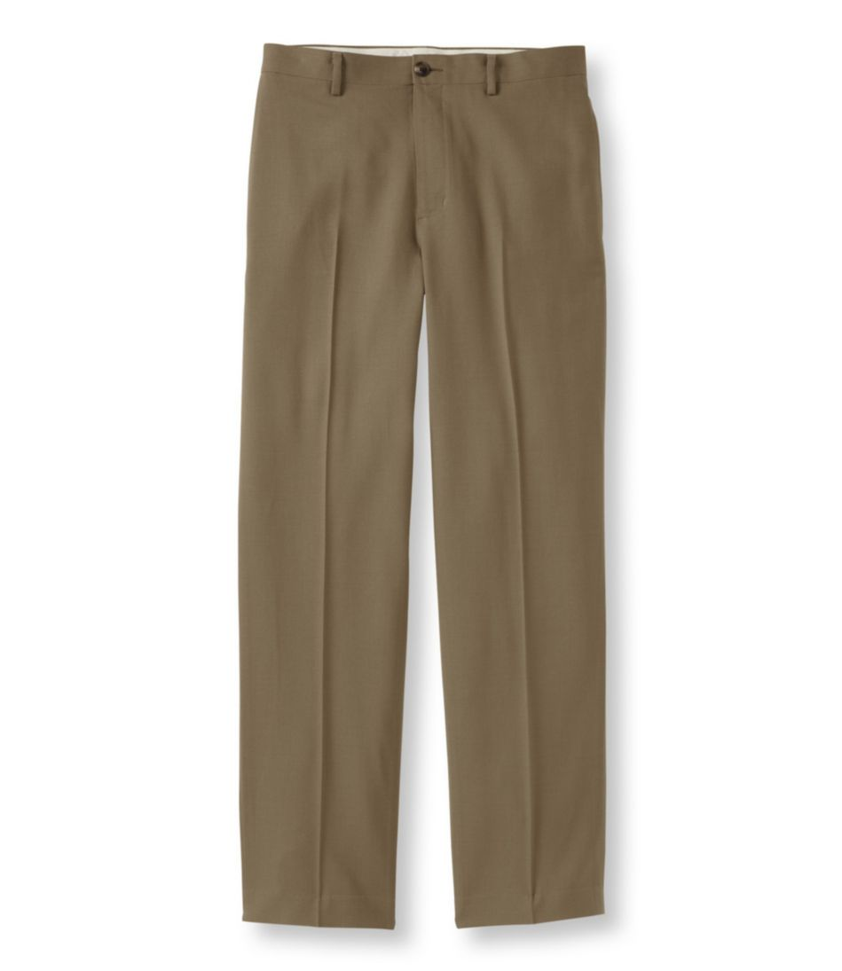 Washable Year-Round Wool Pants, Natural Fit Hidden Comfort Plain Front