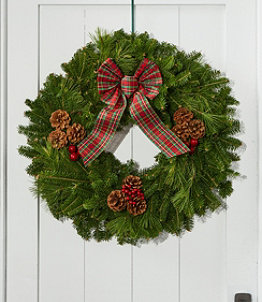 Tartan Christmas Fir Wreath, 24""