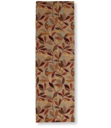 "Wool Hooked Rug, Runner Woodland Leaves 2'6"" x 8'"
