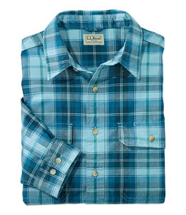 Men's Sunwashed Canvas Shirt, Traditional Fit Plaid