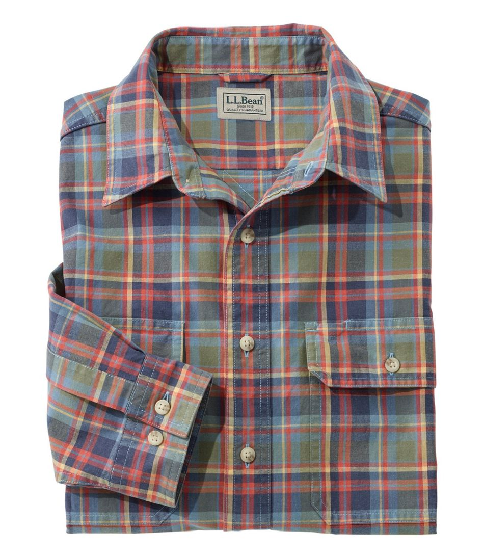 Sunwashed Canvas Shirt, Traditional Fit Plaid