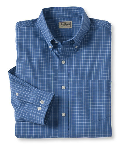 Men 39 s wrinkle free check shirt slightly fitted free for Ll bean wrinkle resistant shirts