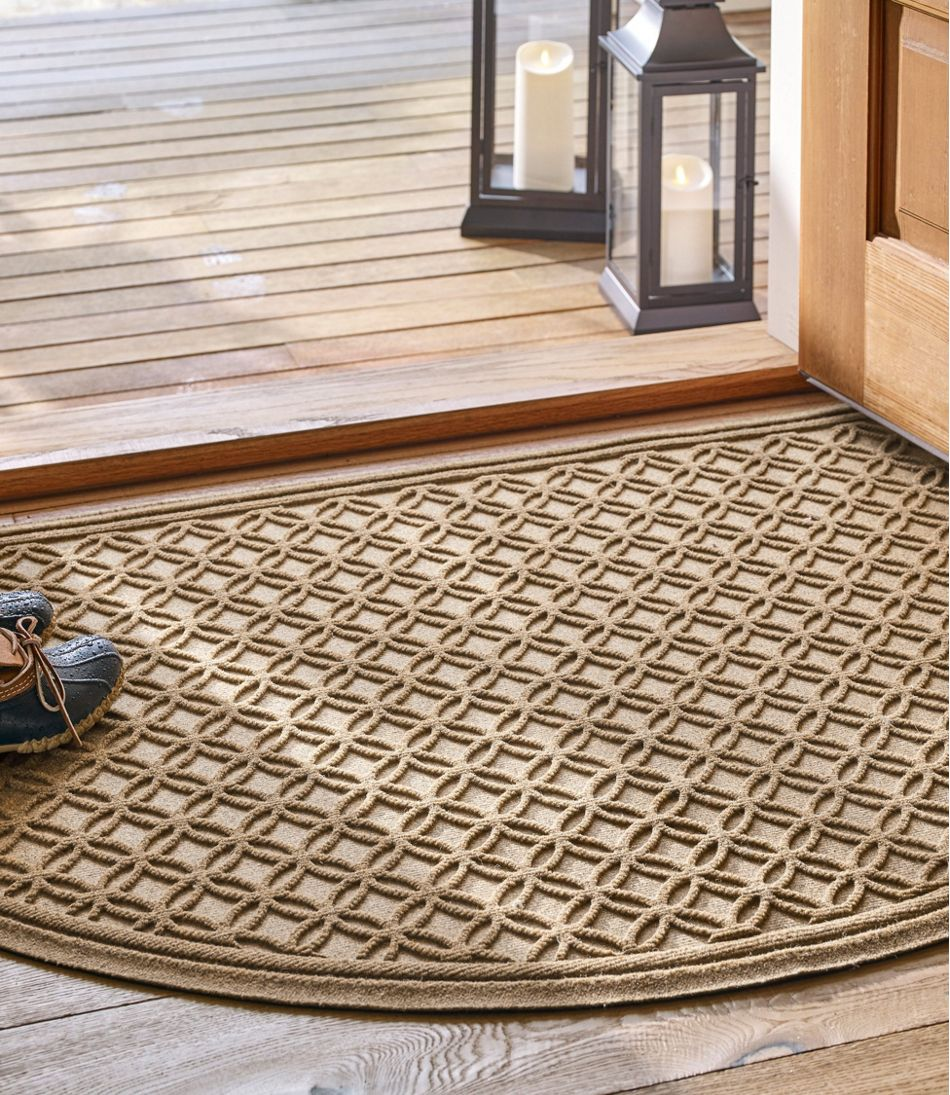 Heavyweight Recycled Waterhog Doormat, Crescent, Locked Circles