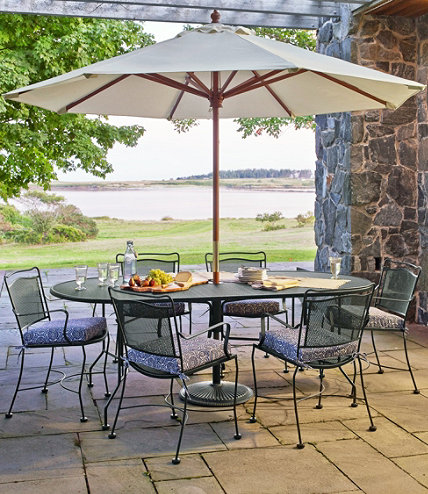 Wrought Iron Garden Mesh Dining Table Oval L L Bean