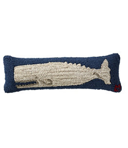 "Wool Hooked Throw Pillow, White Whale, 8"" x 24"""