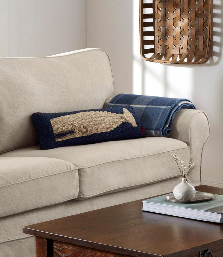 """Wool Hooked Throw Pillow, White Whale, 8"""" x 24"""""""