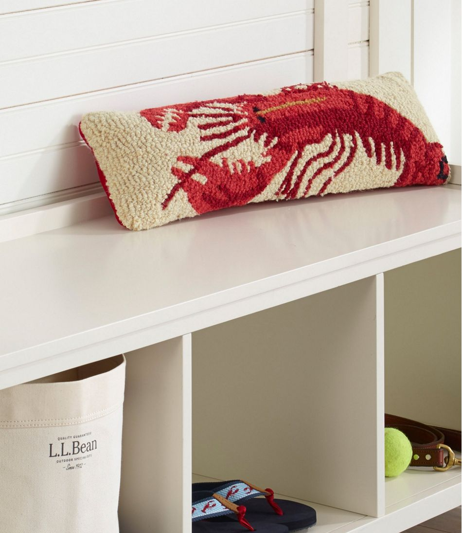 "Wool Hooked Throw Pillow, Lobster, 8"" x 24"""
