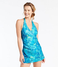 Slimming Swimwear, Clasp Halter Dress Print