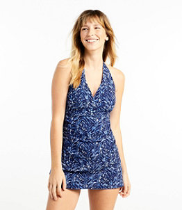 Women's Slimming Swimwear, Clasp Halter Dress Print