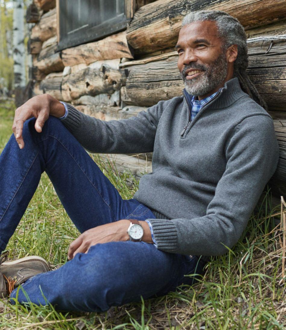 Double L Cotton Sweater, Quarter-Zip
