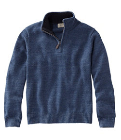 Men's Double L Cotton Sweater, Quarter-Zip