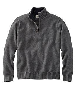 Men's Double L Cotton Sweater, Quarter-Zip