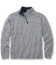 Double L Cotton Sweater, Quarter-Zip