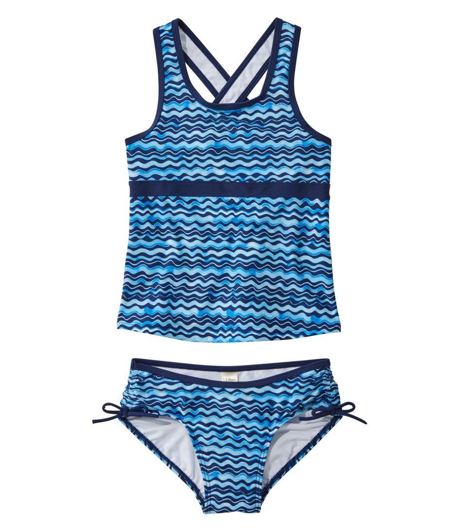 Girls' Tide Surfer Swimsuit, Two-Piece Print