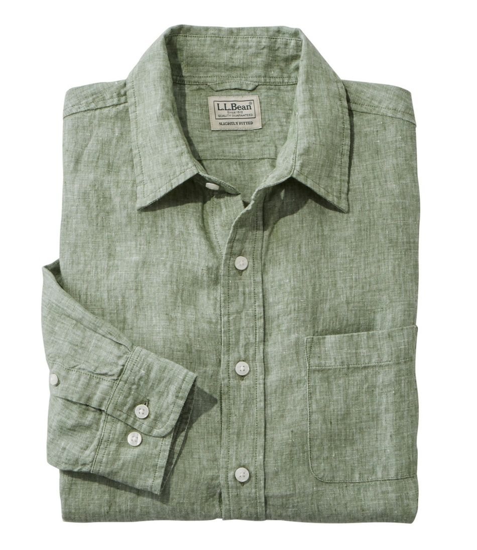 L.L.Bean Linen Shirt, Slightly Fitted Long-Sleeve