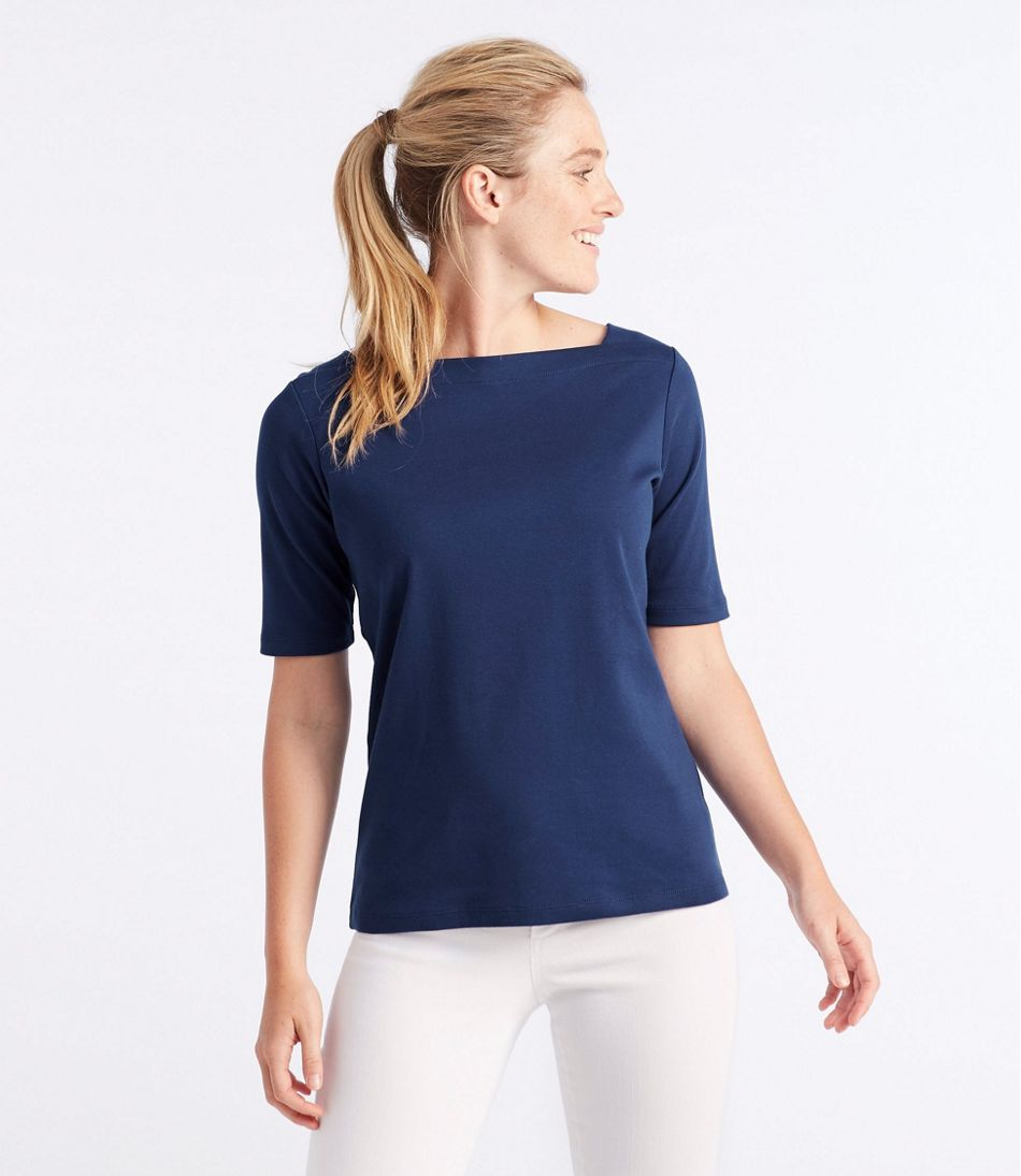 Women's L.L.Bean Pullover, Elbow-Sleeve Square Boatneck