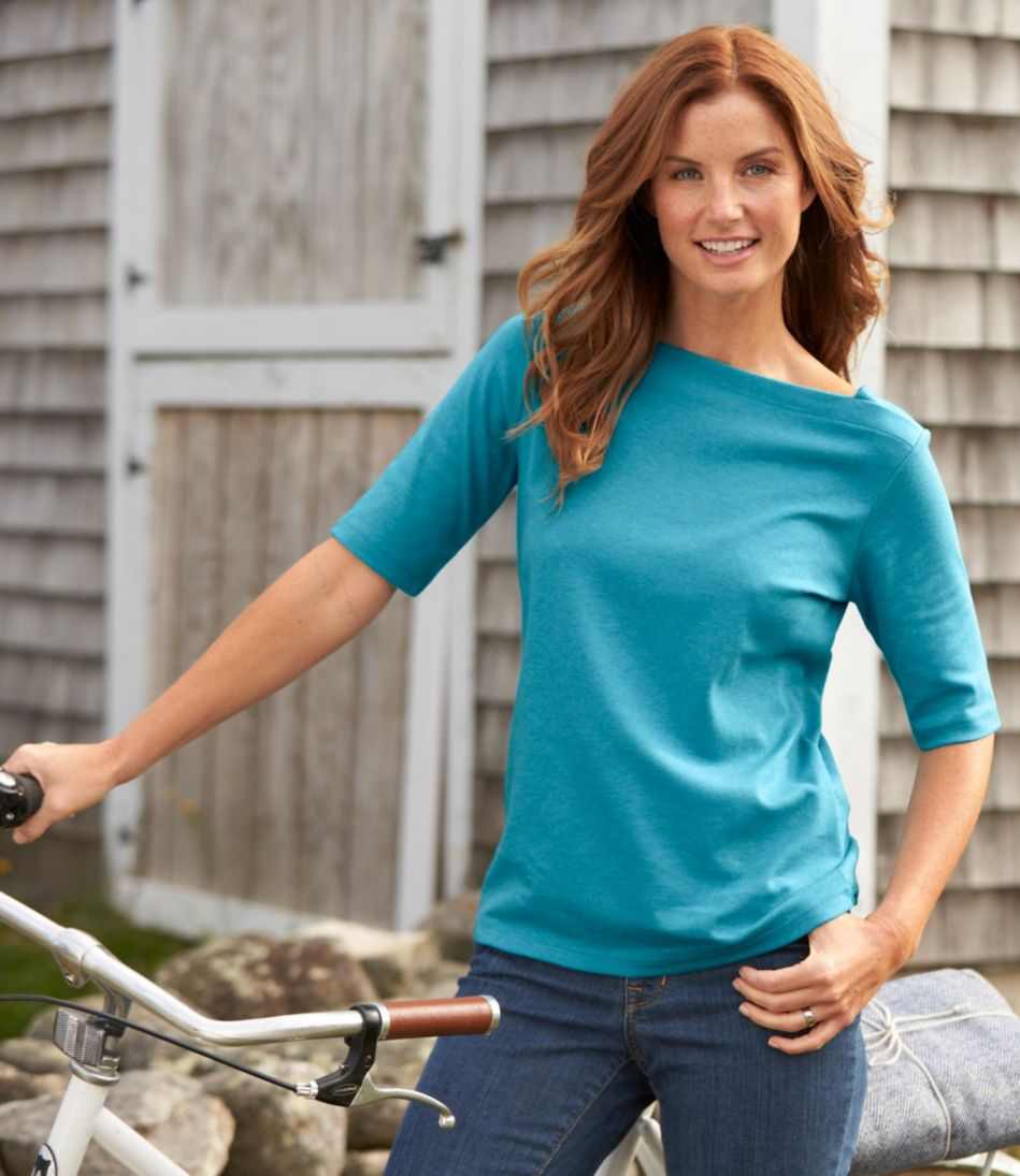 L.L.Bean Pullover, Elbow-Sleeve Square Boatneck