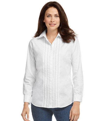 Women 39 s wrinkle free pinpoint oxford shirt long sleeve for Ll bean wrinkle resistant shirts