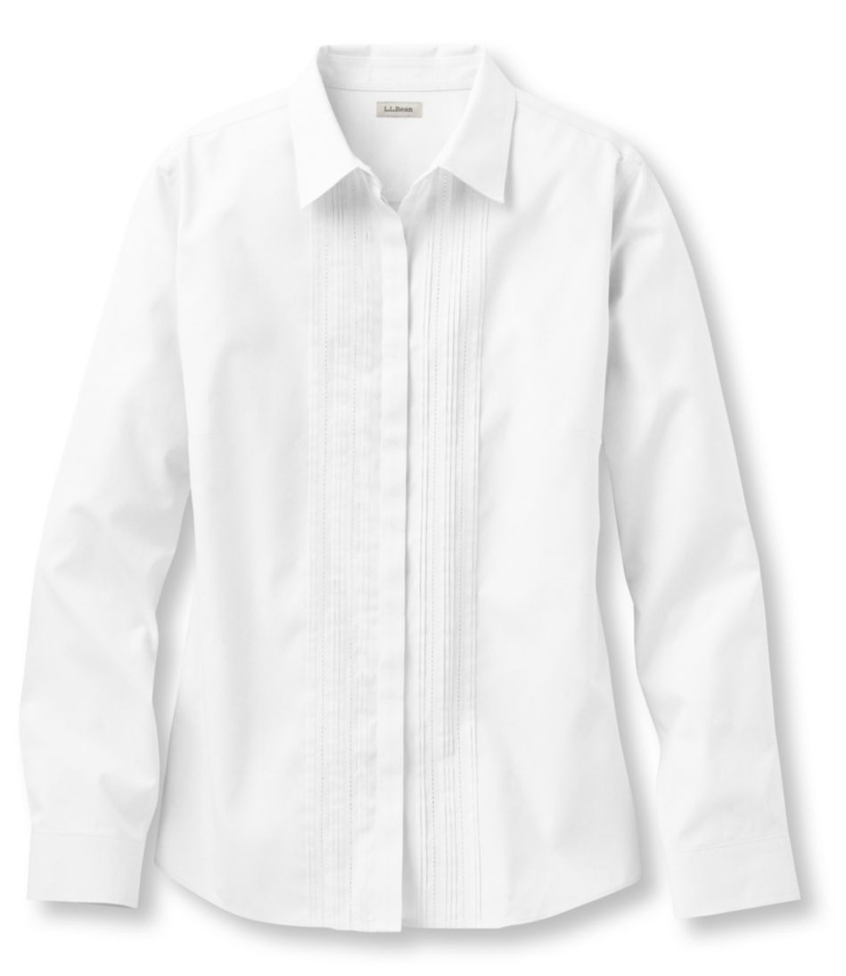 Wrinkle-Free Pinpoint Oxford Shirt, Long-Sleeve Pin-Tucked Slightly Fitted