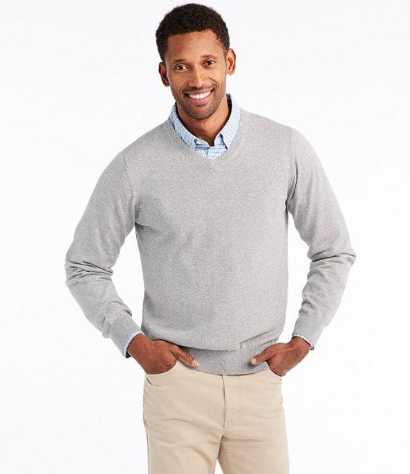 Cotton Cashmere V-Neck Sweater, , large image number 1