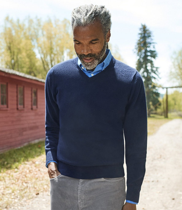 Cotton Cashmere V-Neck Sweater, , large image number 3