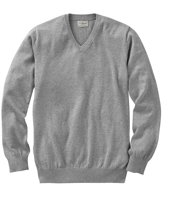 Cotton Cashmere V-Neck Sweater, Light Gray Heather, large image number 0