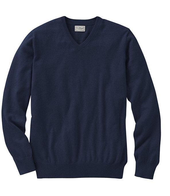 Cotton Cashmere V-Neck Sweater, , large image number 0