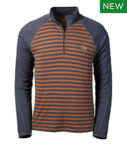 Men's Cresta Wool Midweight Base Layer, Quarter-Zip Stripe