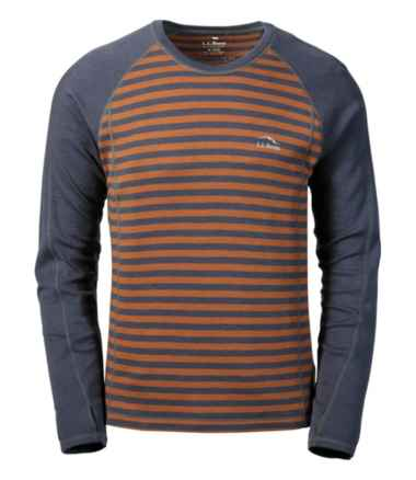 Men's Cresta Wool Midweight Base Layer, Crew Stripe