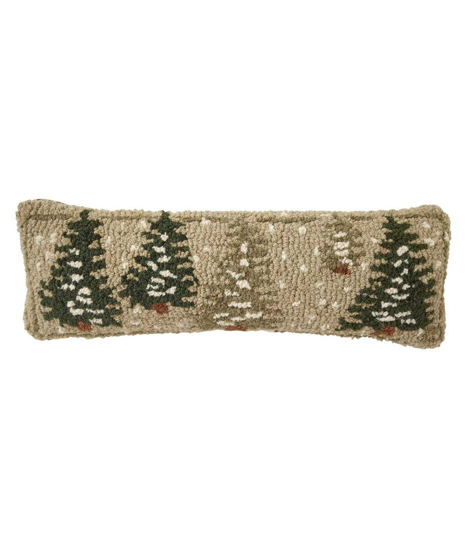 """Wool Hooked Throw Pillow, Frosted Trees, 8"""" x 24"""""""